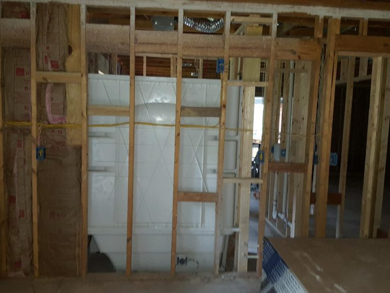 Framework of a residential house wall