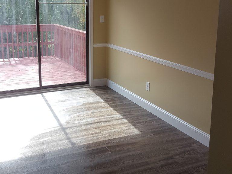 Renovated bedroom installed with engineered hardwood flooring