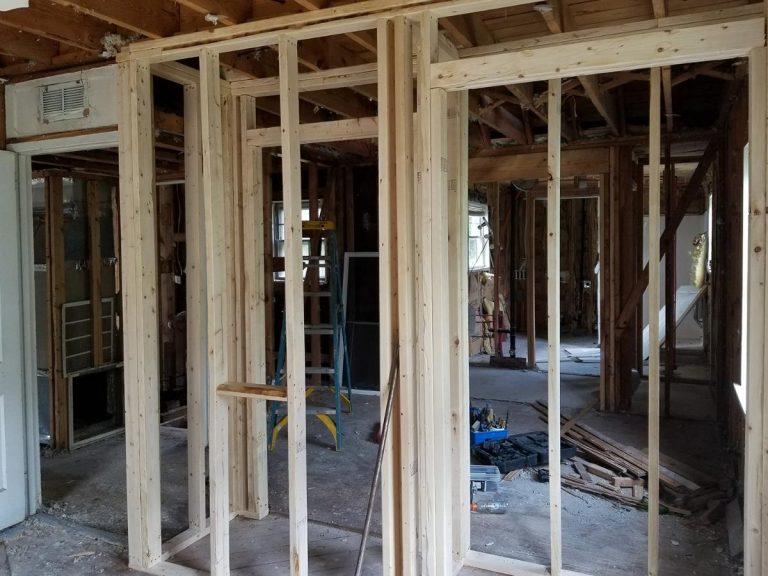 A framework of a closet that is still under construction