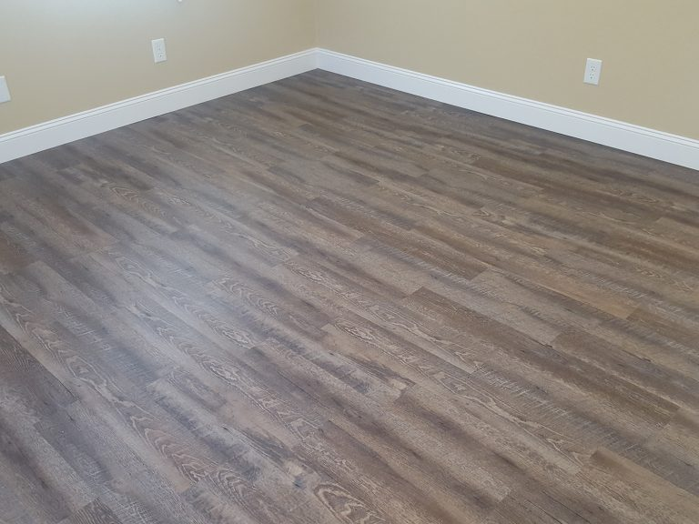 Finished product of engineered hardwood flooring in a house