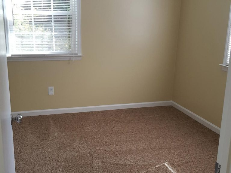 A new carpeted bedroom with newly painted wall