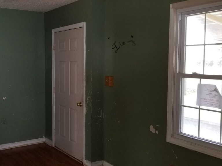 Living room with moss green wall with Live Everyday written on it