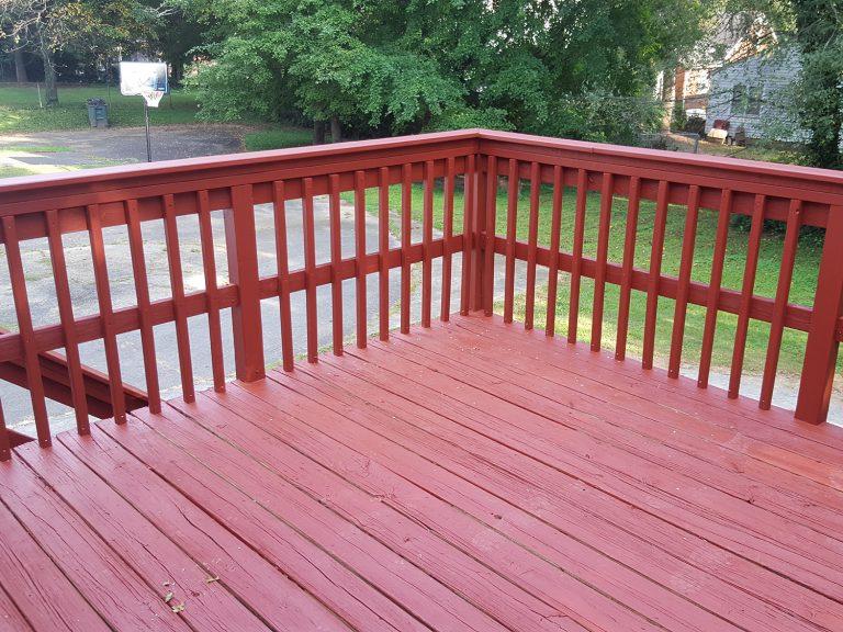 A red refurbished deck