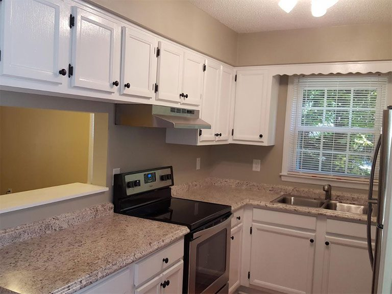 New renovated kitchen with granite kitchen cabinet table top