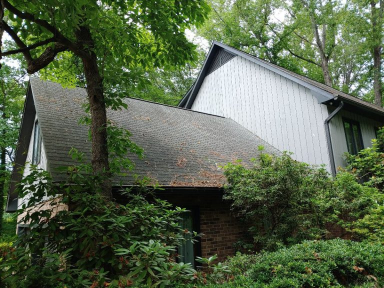Back view of a house before the roofing renovation