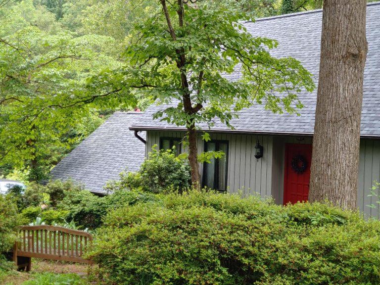 New installed asphalt shingles in a house