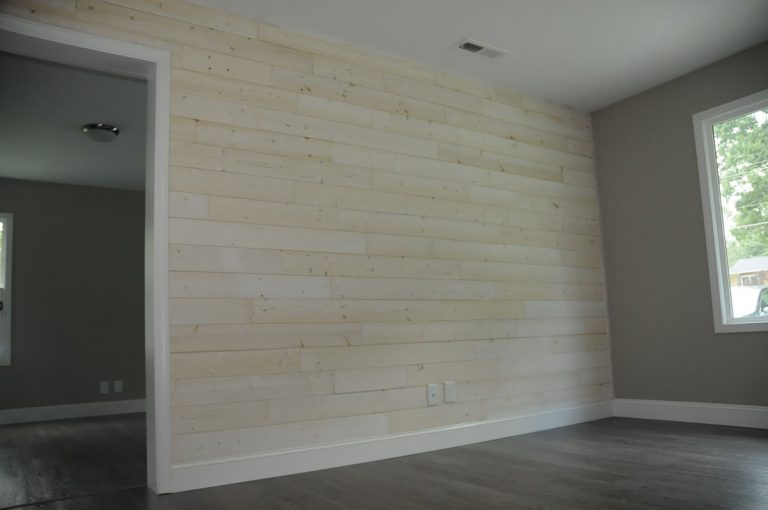 Remodel bedroom equipped with shiplap wall in Winston-Salem