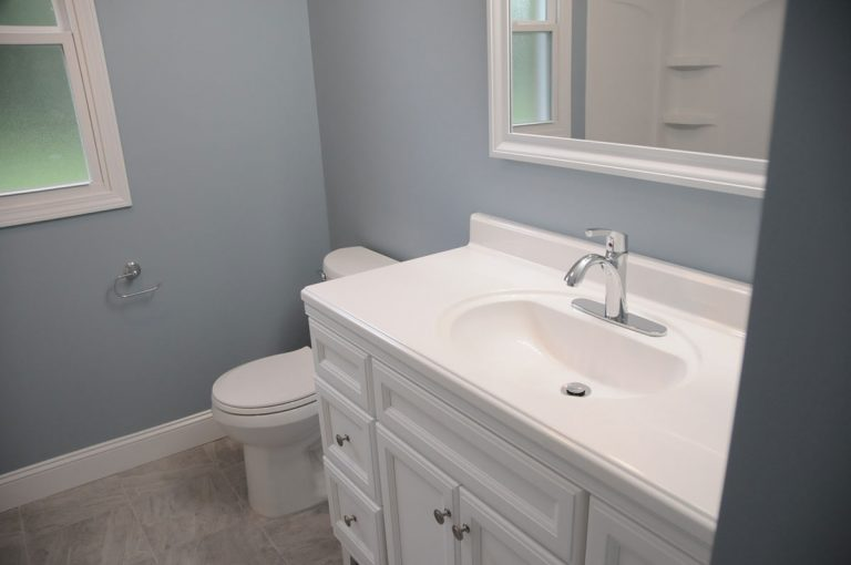 Newly Renovated bathroom installed with new bathroom vanity in Triad NC